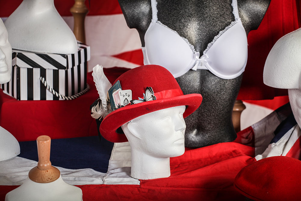 Mannequin wearing red hat